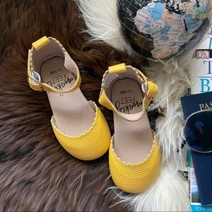 MONKEY FEET Safron Yellow Leather Toddler Shoes